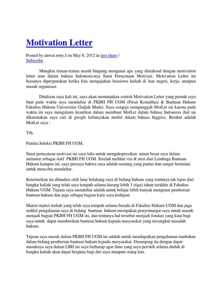 Motivation Letter for Joining Organization
