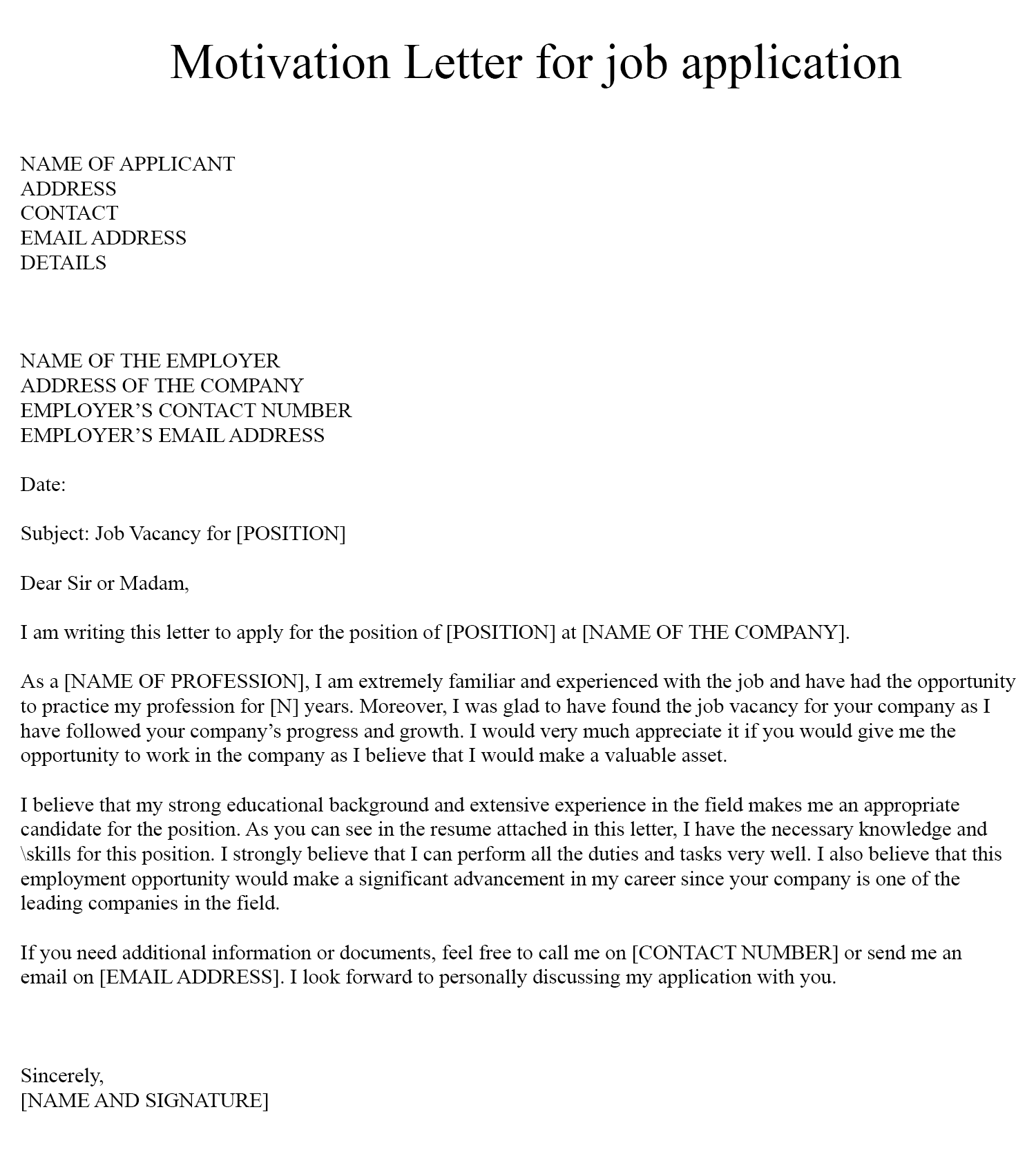 Motivation Letter for Job Example