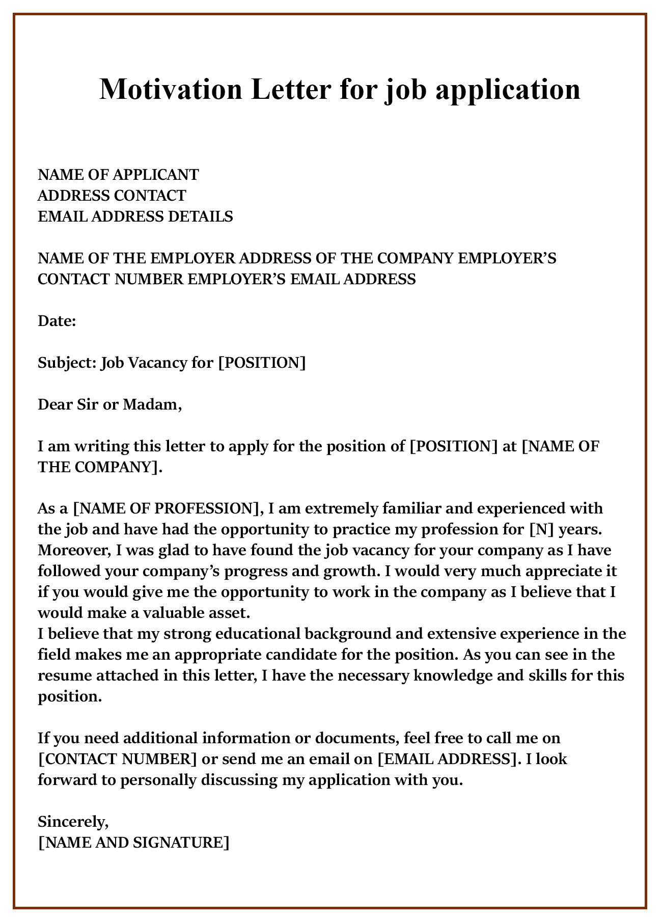 Free Sample Motivation Letter For Job Application Templates
