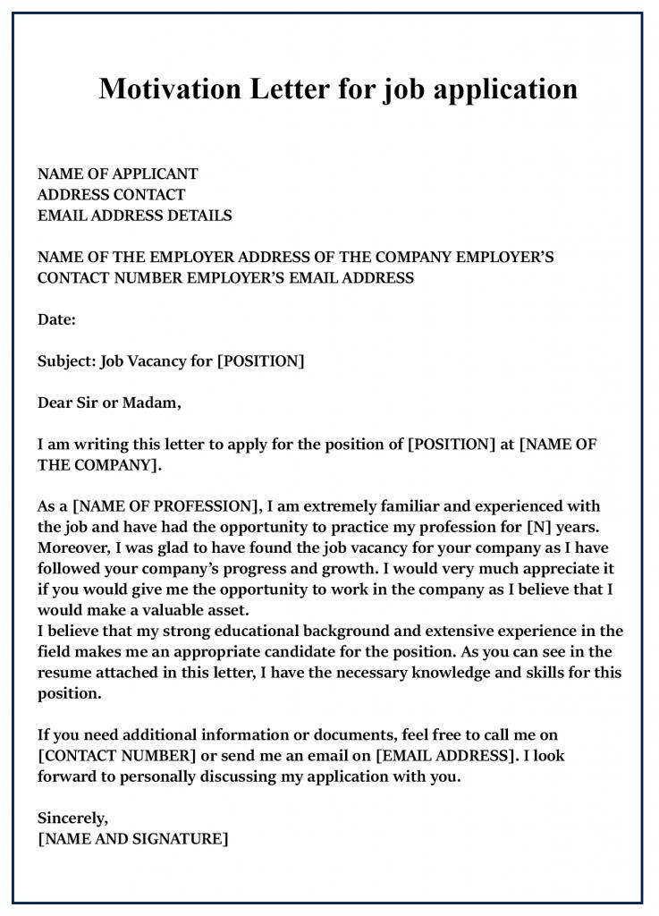 Motivation Letter for Job Application