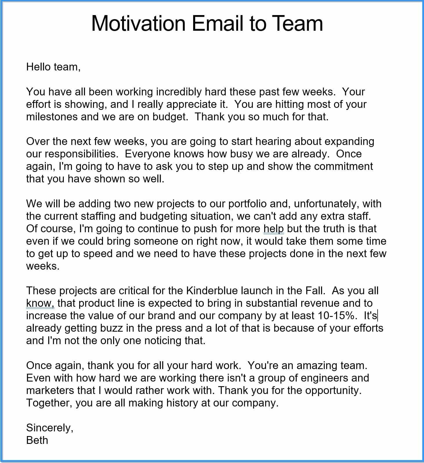 Motivational Letter Template For Employee