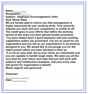 Motivational Letter Format For Employees