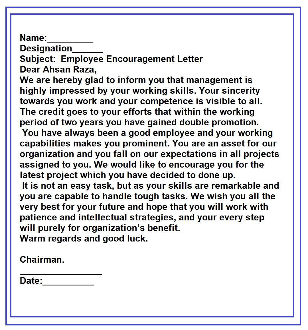 Motivational Letter Format For Employees