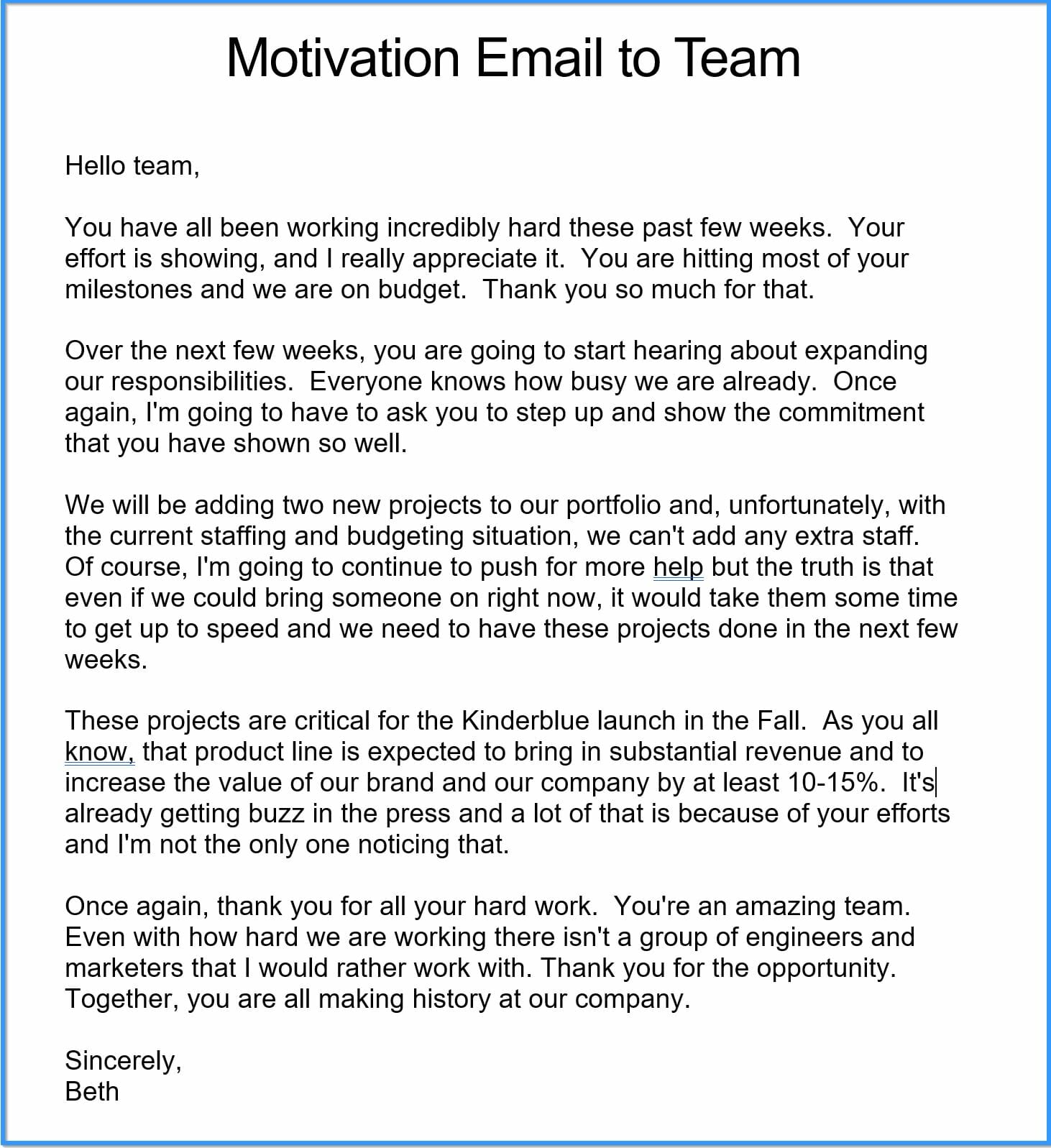 Motivation Email to Team