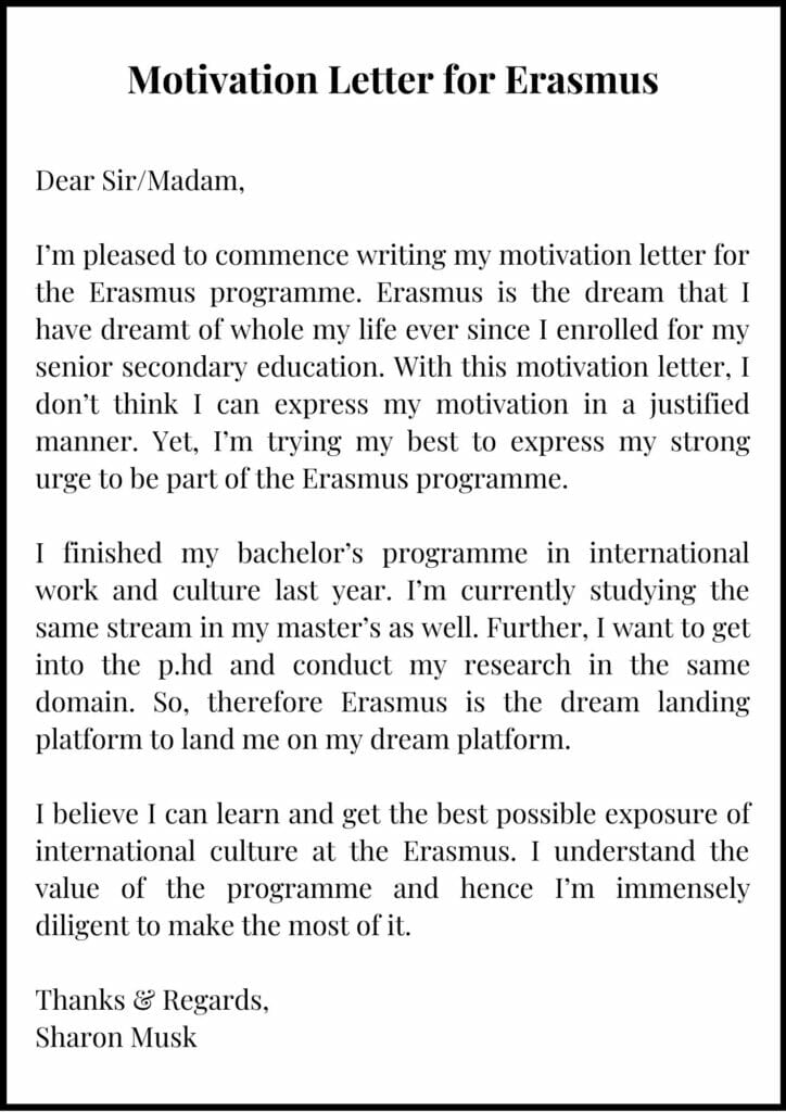 Motivation Letter for Erasmus