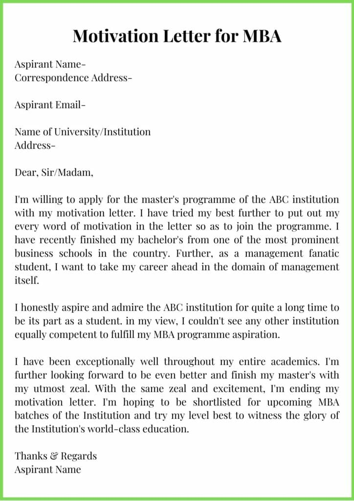 Motivation Letter for MBA