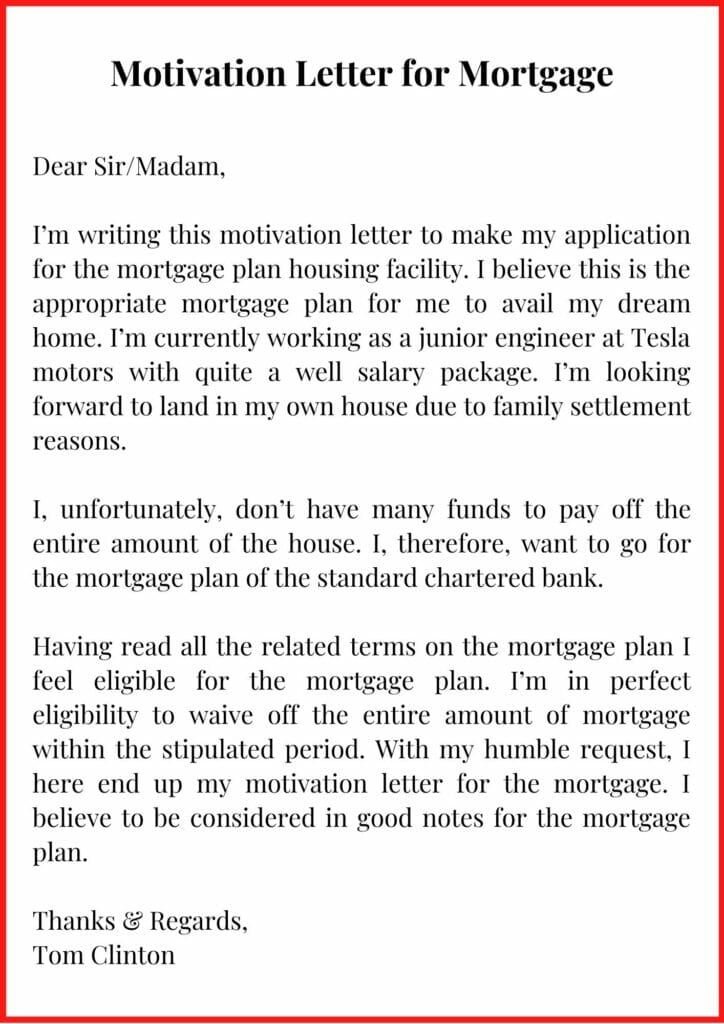 Motivation Letter for Mortgage