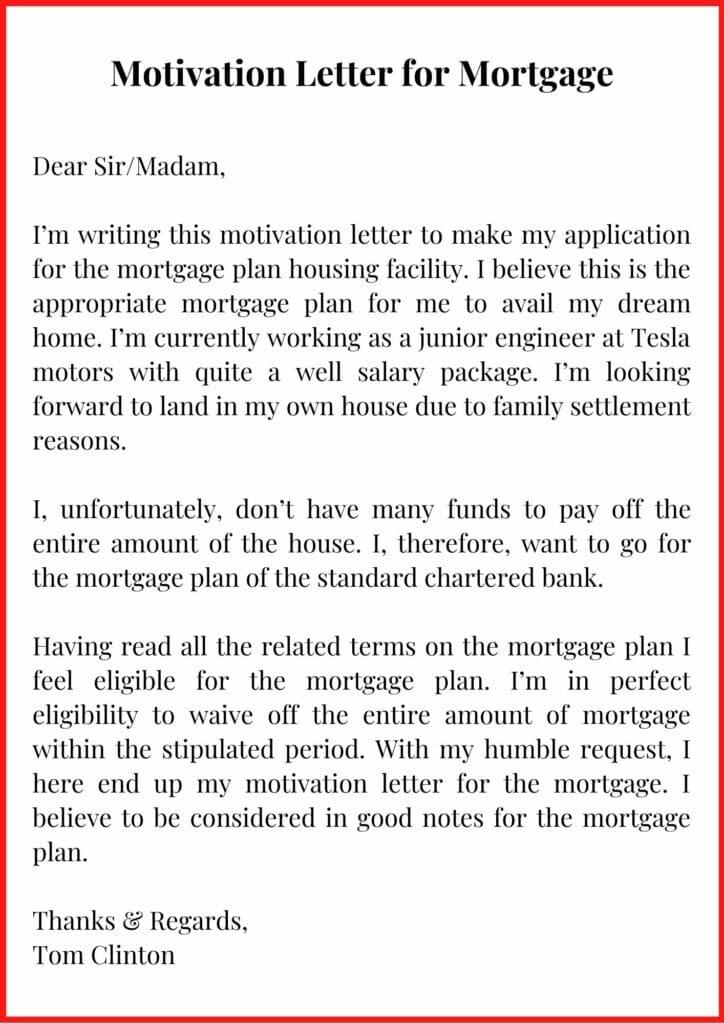 Motivation Letter for Mortgage