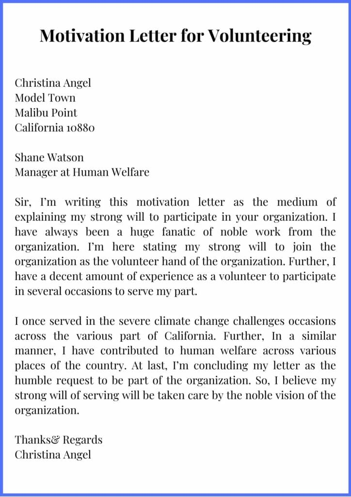 Motivation Letter for Volunteering