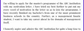Printable Motivation Letter for MBA