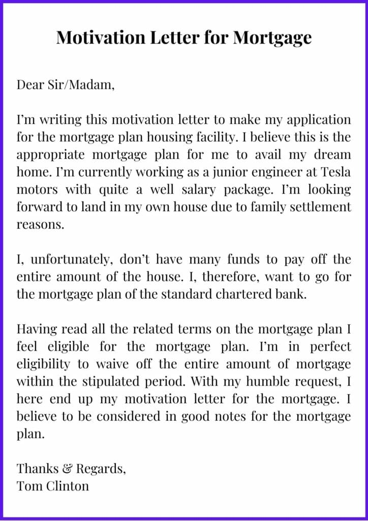 Printable Motivation Letter for Mortgage