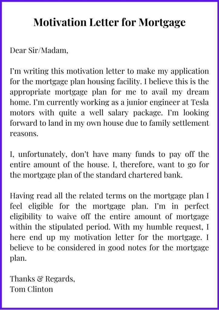 Printable Motivation Letter for Mortgage