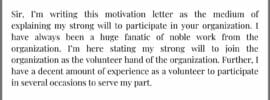 Printable Motivation Letter for Volunteering