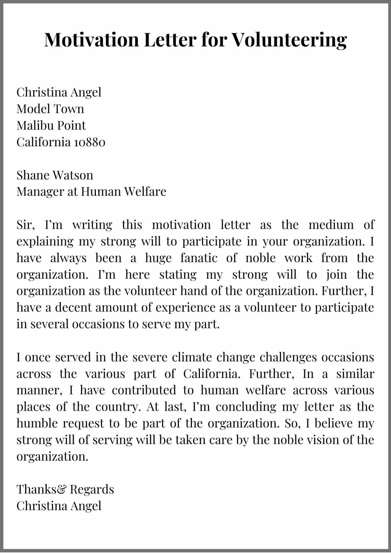 Motivation Letter For Volunteer