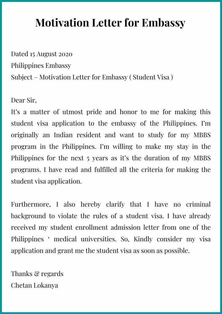Motivation Letter for Embassy