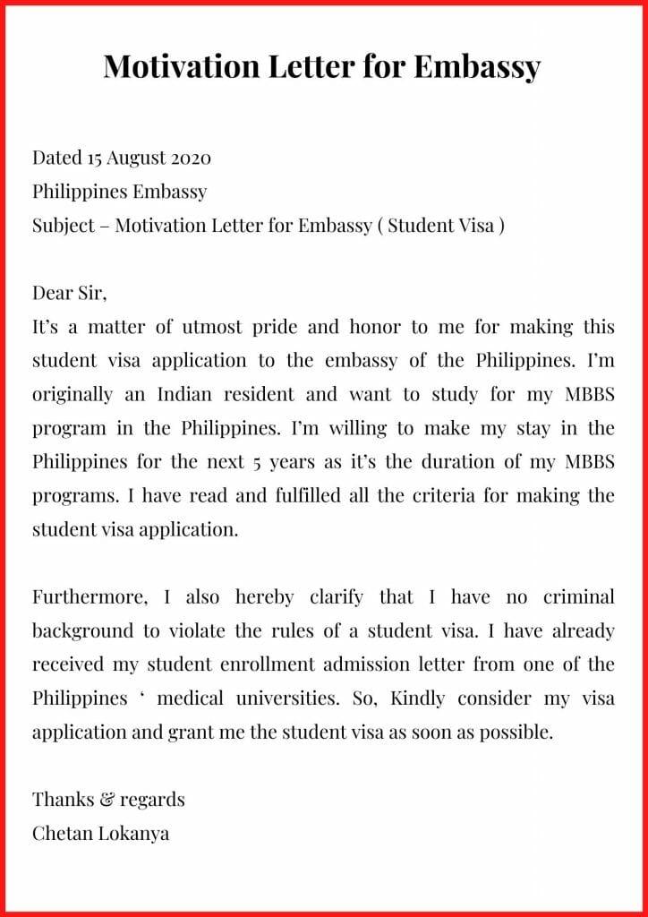 Motivation Letter for Embassy Template